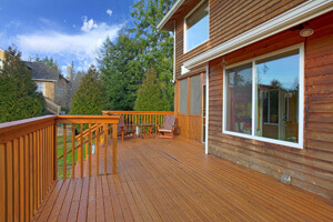 wooden decking on house
